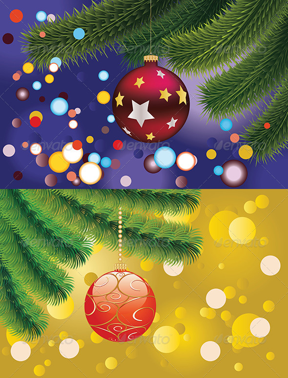 GraphicRiver Red Christmas Ball on Branch 7912037