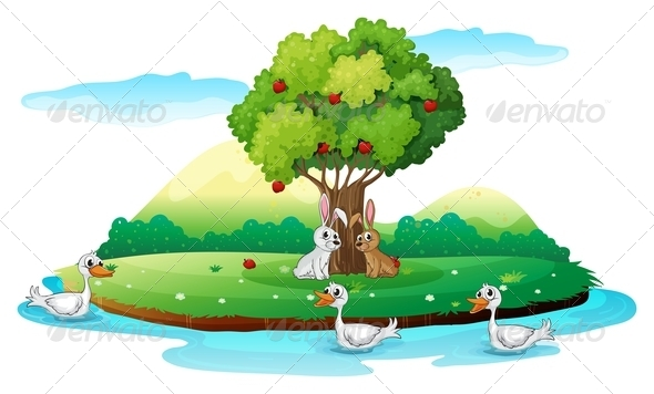 GraphicRiver Island with Animals 7912696