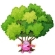 Pink Monster Exercising Under a Tree - GraphicRiver Item for Sale