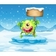 Green Monster on an Iceberg with an Empty Sign - GraphicRiver Item for Sale