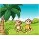 Happy Monkeys at the Hill with Bananas - GraphicRiver Item for Sale