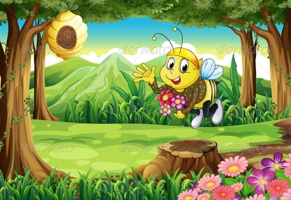 GraphicRiver A Bee at the Forest with Flowers 7913161