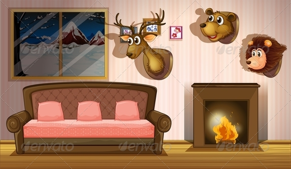 GraphicRiver A Living Room with Stuffed Head Decorations 7913172