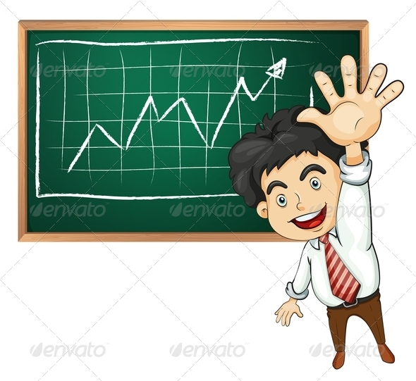 GraphicRiver A Very Happy Businessman in Front of the Blackboard 7914803