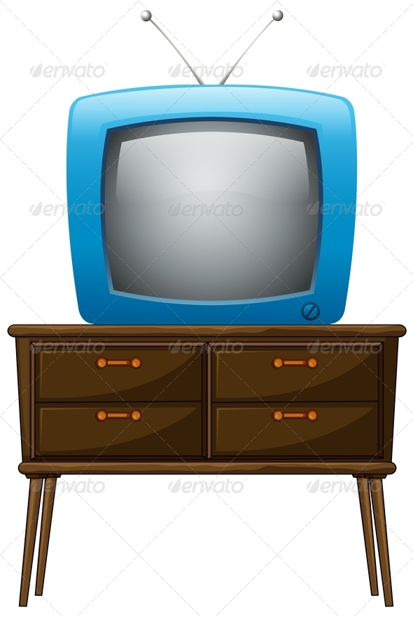 GraphicRiver A Television Above the Wooden Table 7914881