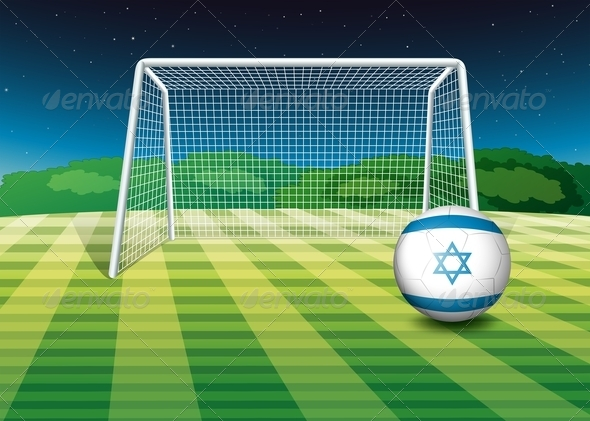 GraphicRiver A Football Field with the Flag of Israel 7915133