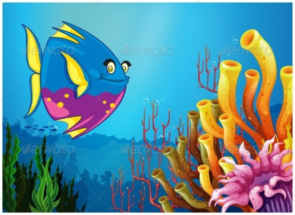 GraphicRiver Underwater Seascape with Fish 7915136