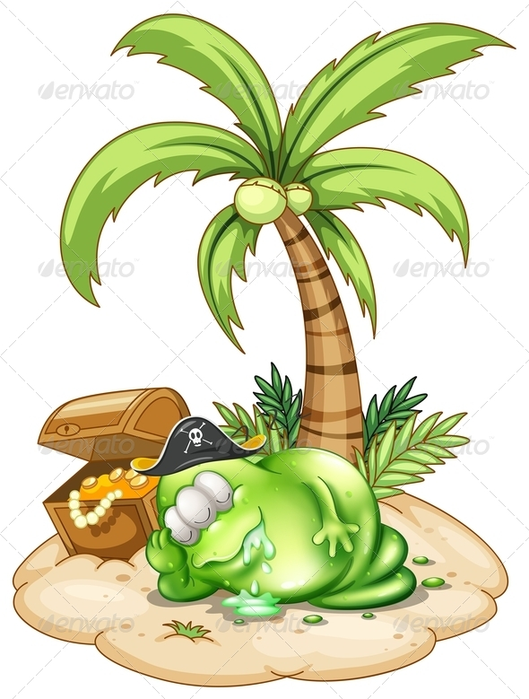 GraphicRiver Sleeping Pirate Monster Under the Coconut Tree 7915205