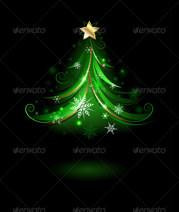 GraphicRiver Green Fir Tree with Snowflakes 7915242
