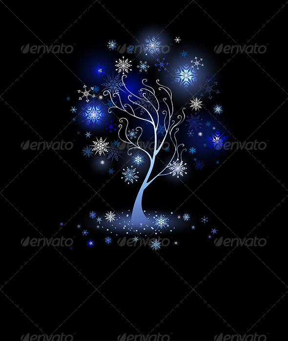 GraphicRiver Tree with Snowflakes 7915266
