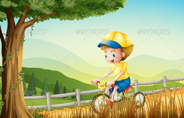 GraphicRiver A Young Boy Playing with His Bike 7915273