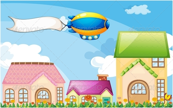 GraphicRiver A Balloon Above the Village with an Empty Banner 7915275