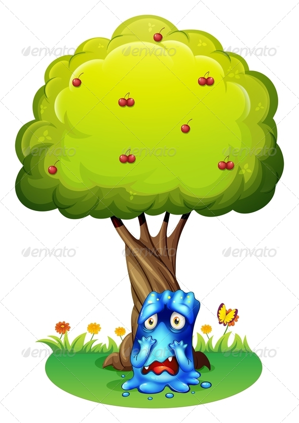 GraphicRiver A Sad Monster Under a Cherry Tree 7915284