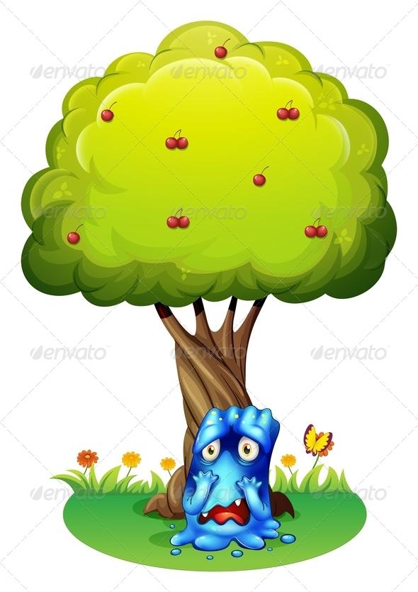 GraphicRiver A Sad Monster Under a Cherry Tree 7915284