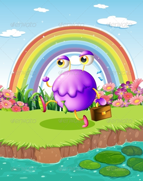 GraphicRiver Monster Walking Near a Pond with a Rainbow 7915358
