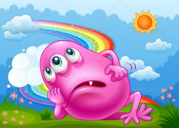 GraphicRiver Tired Pink Monster at the Hilltop with a Rainbow 7915447
