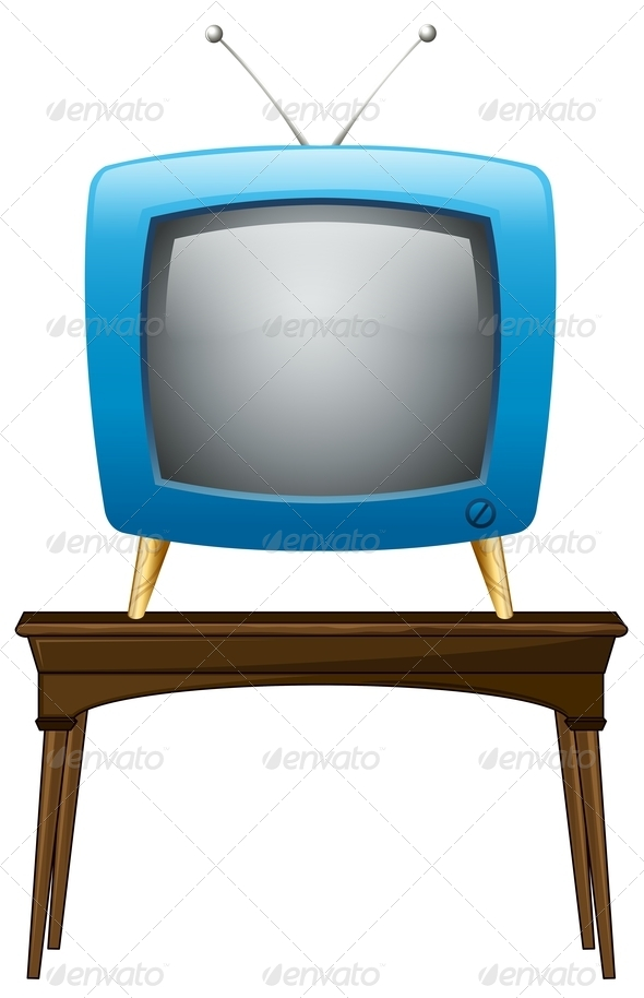 GraphicRiver A Blue Television Above a Wooden Table 7915448