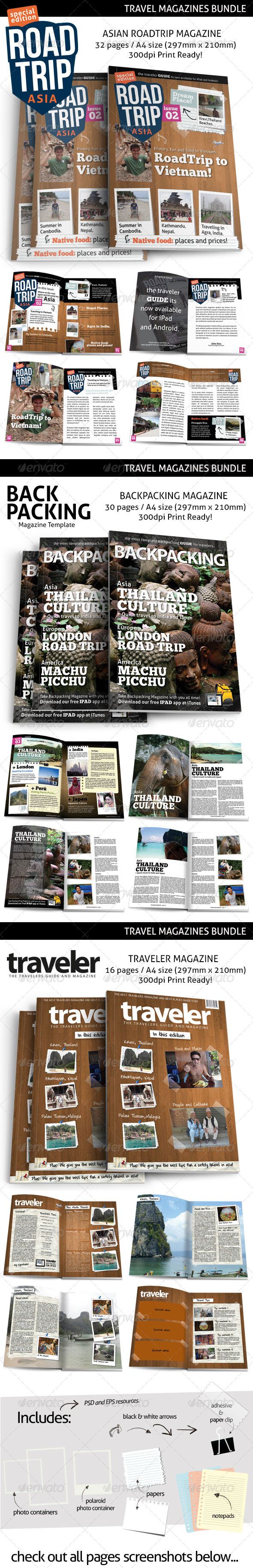 GraphicRiver Travel Print Magazines Bundle 7915557