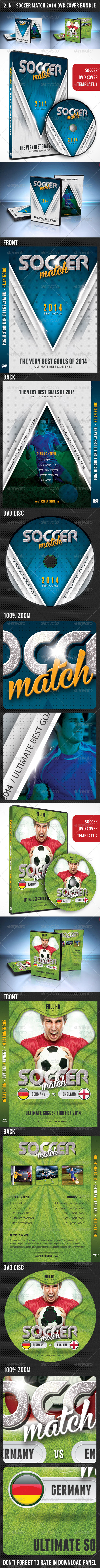 GraphicRiver 2 in 1 Soccer Match 2014 DVD Cover Bundle 7915718