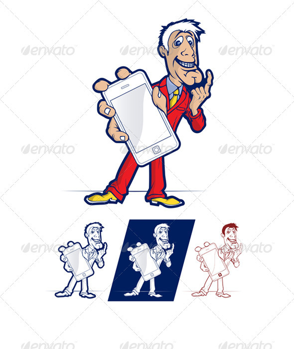 Graphic River Mobile Phone Smile Man Vectors -  Characters  People 808136