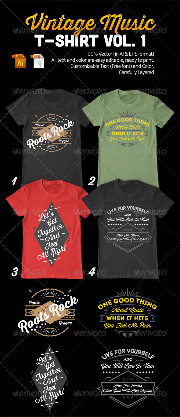 GraphicRiver Vintage Music T-Shirt Vol 1 7918465