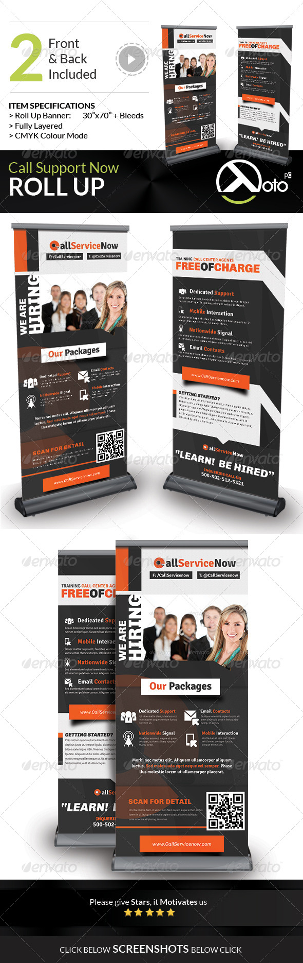 GraphicRiver Call Support Call Center Solutions Roll Up Banners 7920466