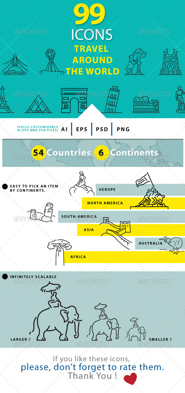 GraphicRiver Travel Around The World Line Icons 7921591
