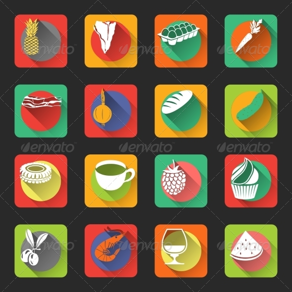 GraphicRiver Food Flat Icons 7921813