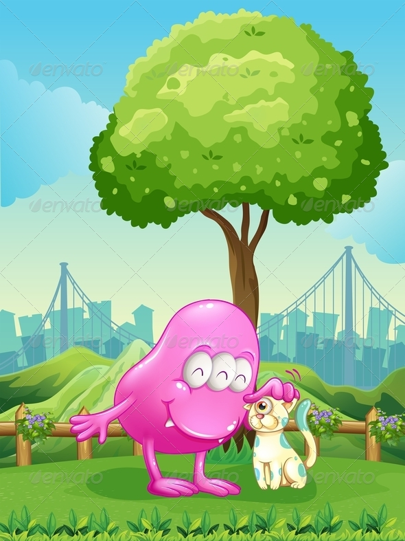GraphicRiver A Pink Monster and a Monster Cat Near the Tree 7925675