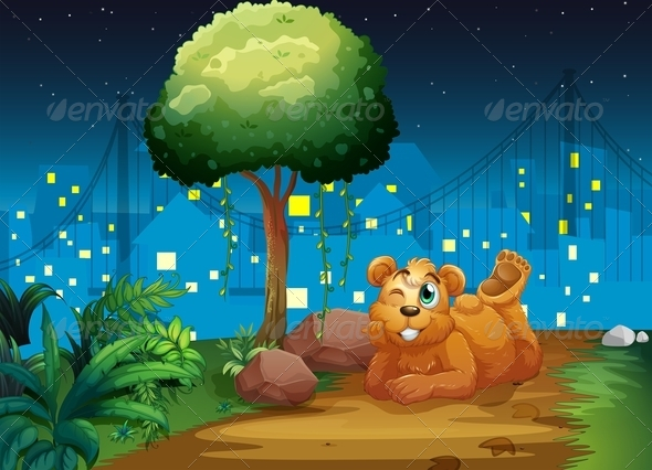 GraphicRiver A Happy Brown Bear at the Pathway 7925678