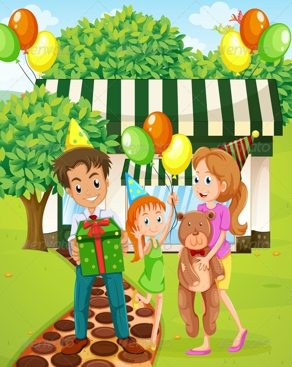 GraphicRiver A Happy Family Celebrating Outside the House 7925692