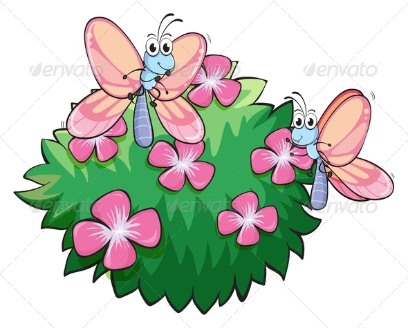 GraphicRiver Butterflies with Pink Flowers 7925933