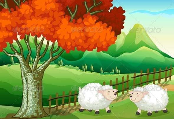GraphicRiver Two Sheep Under a Tree 7925957
