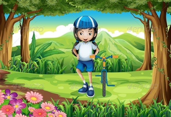 GraphicRiver Girl with Bike in a Forest 7926702