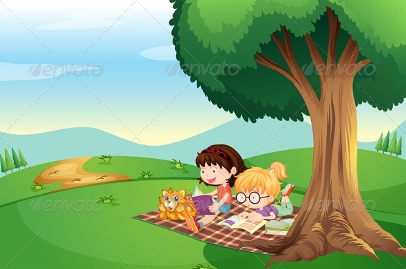 GraphicRiver Kids Reading Under a Tree 7926758