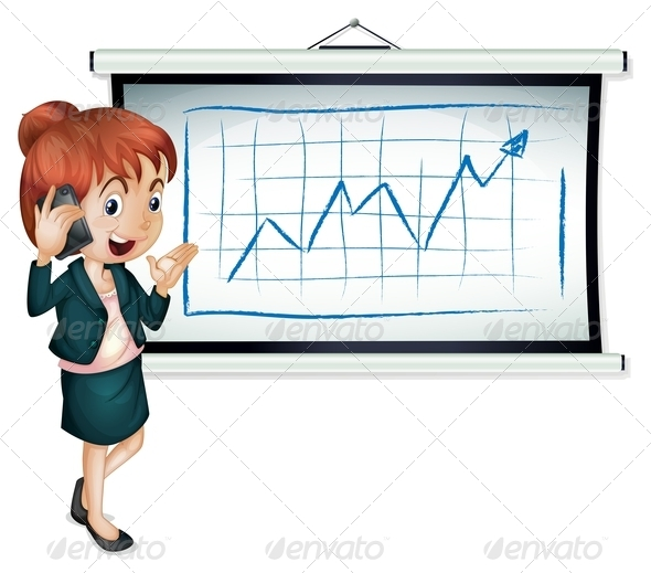 GraphicRiver Businesswoman Using Cellphone in front of Graph 7927096