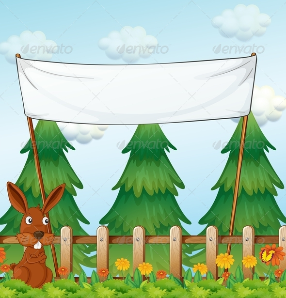 GraphicRiver Bunny in a Garden with Empty Banner 7927101