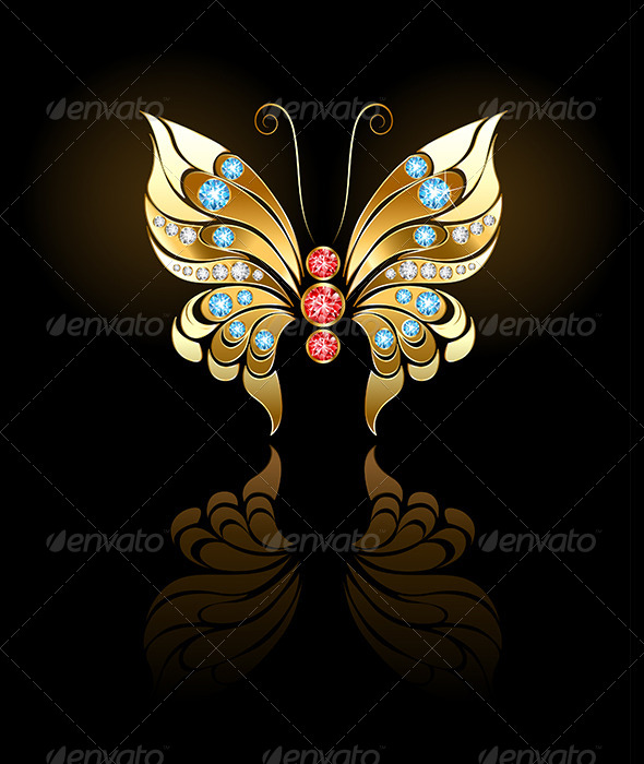 GraphicRiver Gold Butterfly with Gems 7927103