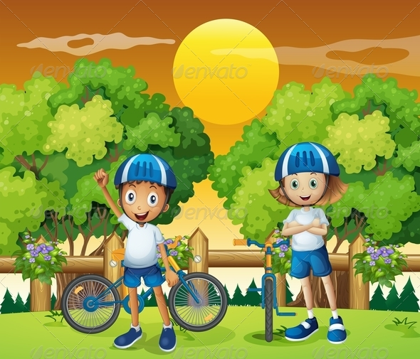 GraphicRiver Kids with their Bikes 7927460