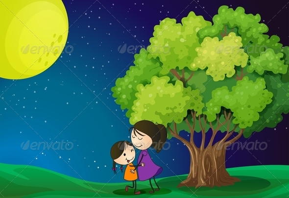 GraphicRiver Mother and Daughter near a Tree 7927524