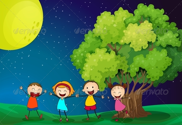 GraphicRiver Kids Playing near a Tree 7927550