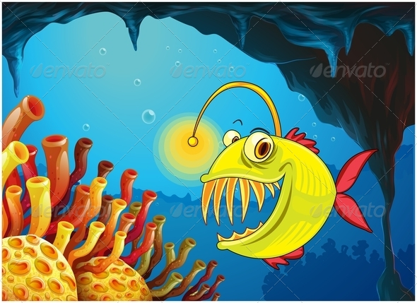 GraphicRiver A Cave with a Piranha 7927604