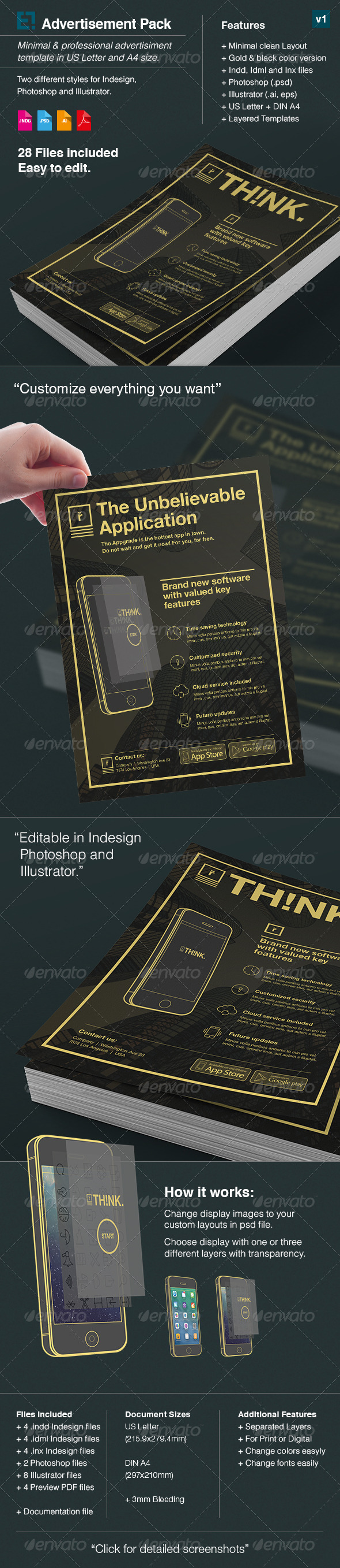 GraphicRiver App Advertisement Pack with Mockup 7909975