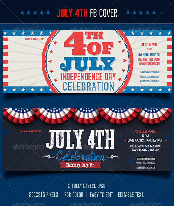 GraphicRiver July 4th Facebook 7929583