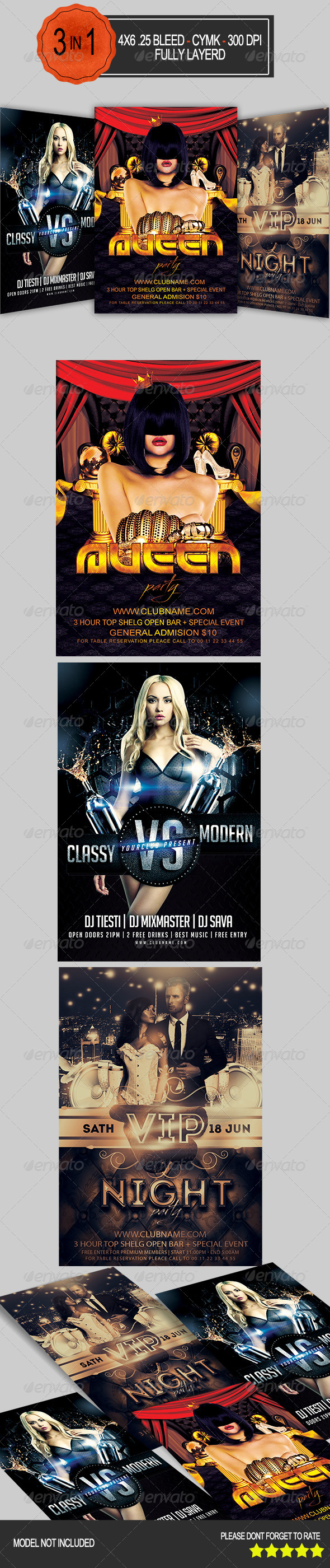 GraphicRiver 2 in 1 Party Flyer Pack 7911218
