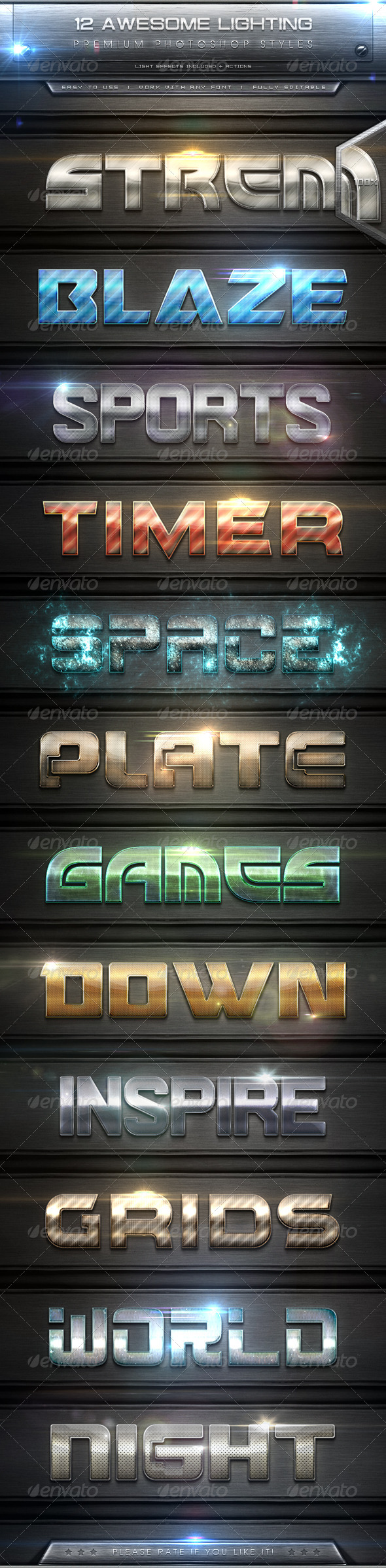 GraphicRiver 12 Awesome Lighting Text Effect Styles & Actions 7932807