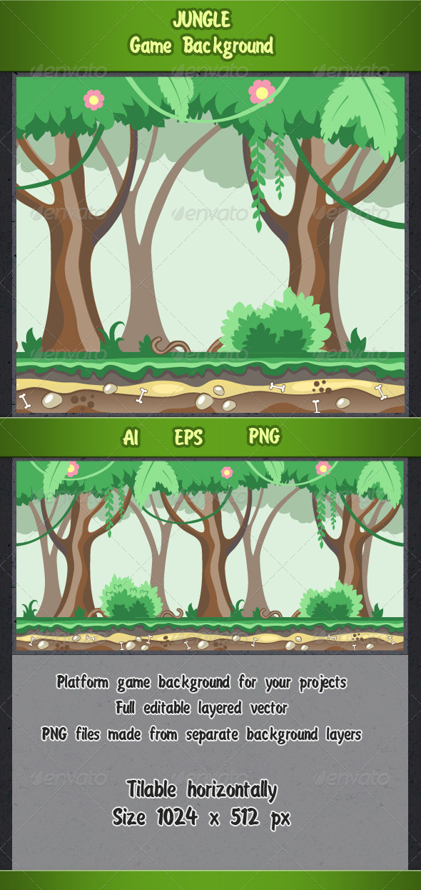 GraphicRiver Jungle Game Background 7933136