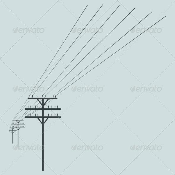 GraphicRiver Vector Silhouette of Power Line 7933496