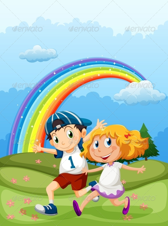 GraphicRiver Boy and a Girl Running with a Rainbow in the Sky 7934649