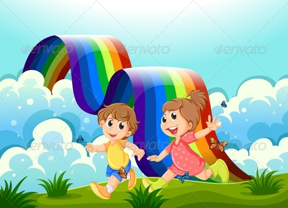 GraphicRiver Happy Kids Playing at the Hilltop with a Rainbow 7934655